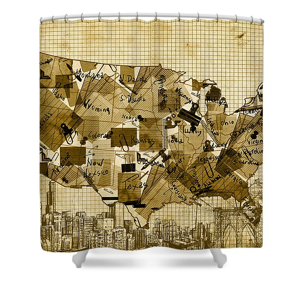 United States Map Collage 4 Shower Curtain