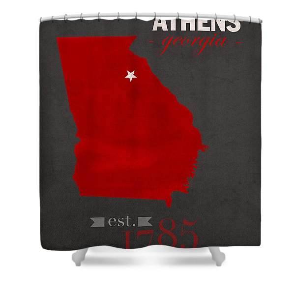 University Of Georgia Bulldogs Athens College Town State Map Poster Series No 040 Shower Curtain