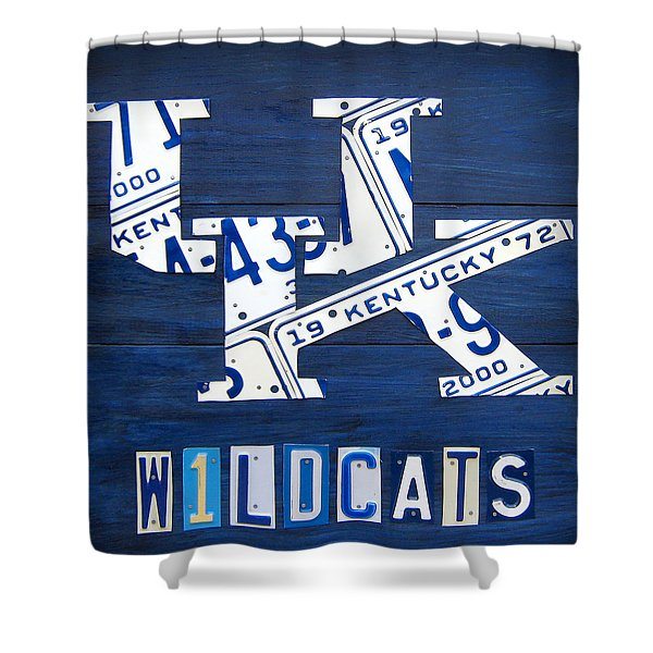 University Of Kentucky Wildcats Sports Team Retro Logo Recycled Vintage Bluegrass State License Plate Art Shower Curtain