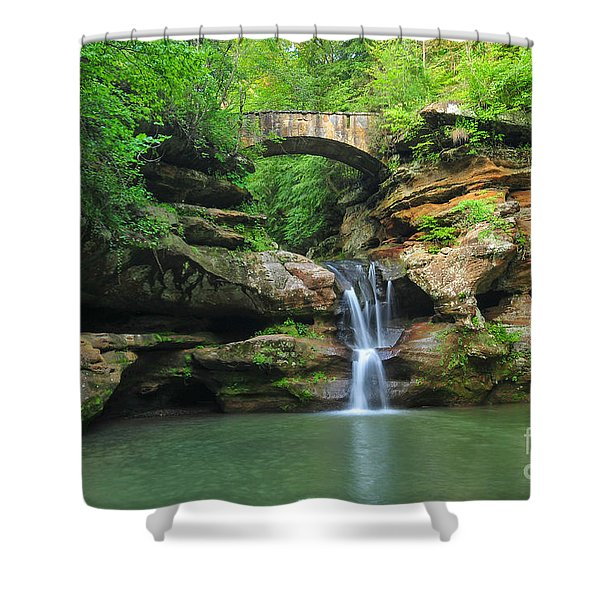 D10a-113 Upper Falls At Old Mans Cave Hocking Hills Photo Shower Curtain