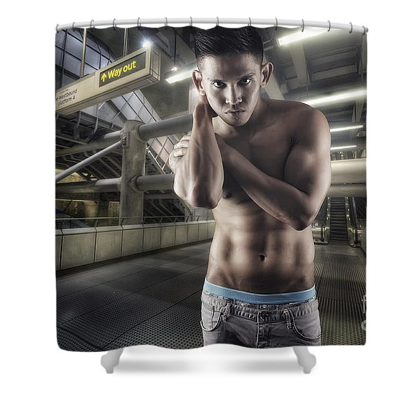 Urban Hunk 1.0 Shower Curtain