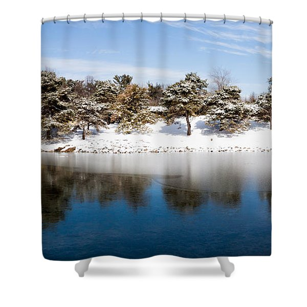 Urban Pond In Snow Shower Curtain