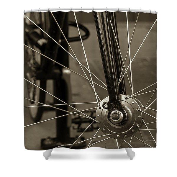 Urban Spokes In Sepia Shower Curtain