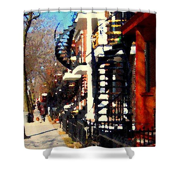 Urban Winter Scene Strolling  Sunny Streets In South West Montreal City Scene Art Carole Spandau Shower Curtain