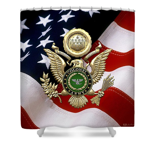 U. S. Army Colonel - C O L Rank Insignia Over Gold Great Seal Eagle And Flag Shower Curtain
