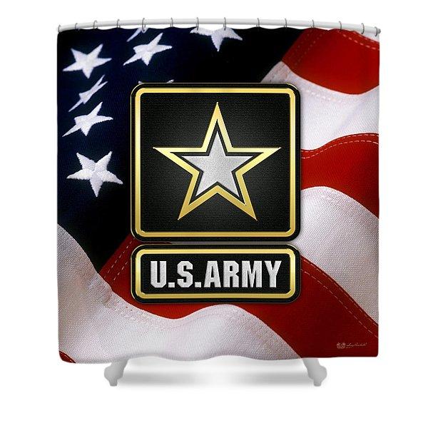 U. S. Army Logo Over American Flag. Shower Curtain