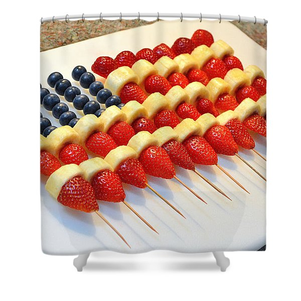 American Flag Fruit Kabobs Shower Curtain