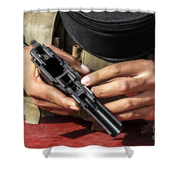 U.s. Marine Assembles The M9 Pistol Shower Curtain