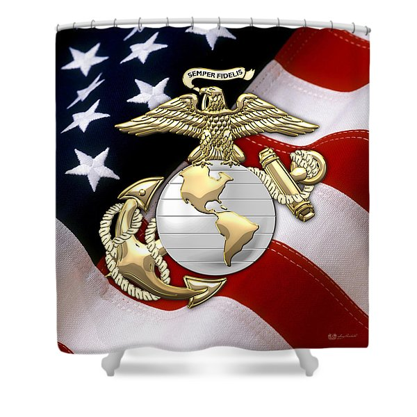 U. S. Marine Corps - U S M C Eagle Globe And Anchor Over American Flag. Shower Curtain