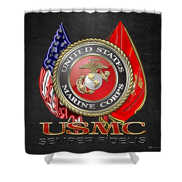 U. S. Marine Corps U S M C Emblem On Black Shower Curtain