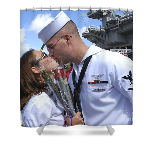 U.s. Navy Sailor Kisses His Wife Shower Curtain