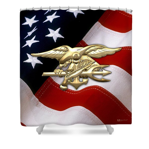 U. S. Navy S E A Ls Emblem Over American Flag Shower Curtain