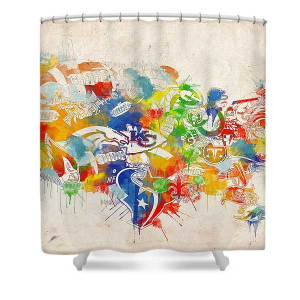 Usa Nfl Map Collage 12 Shower Curtain