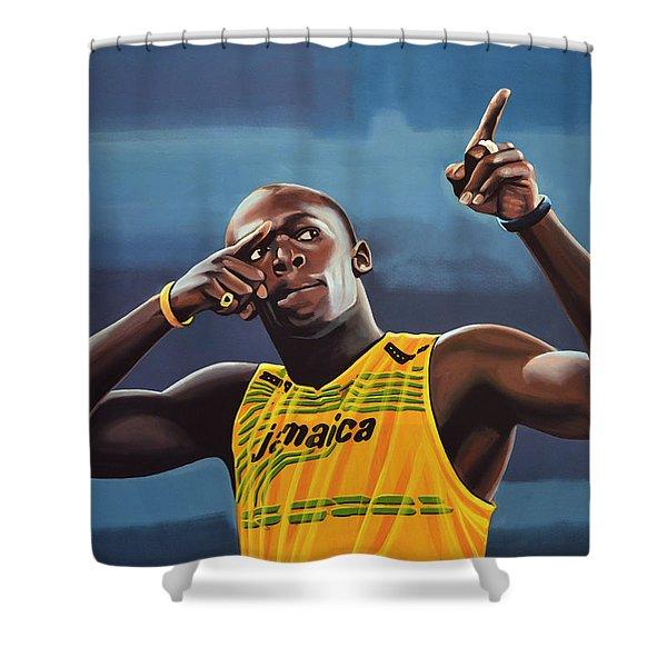 Usain Bolt Painting Shower Curtain