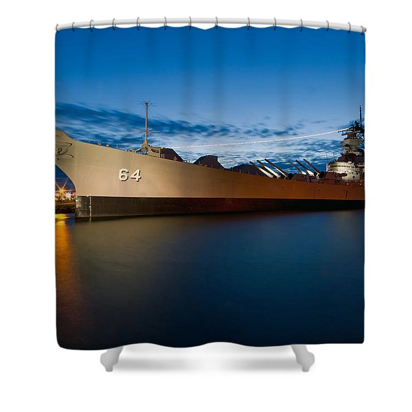 Uss Wisconsin At Sunset Shower Curtain
