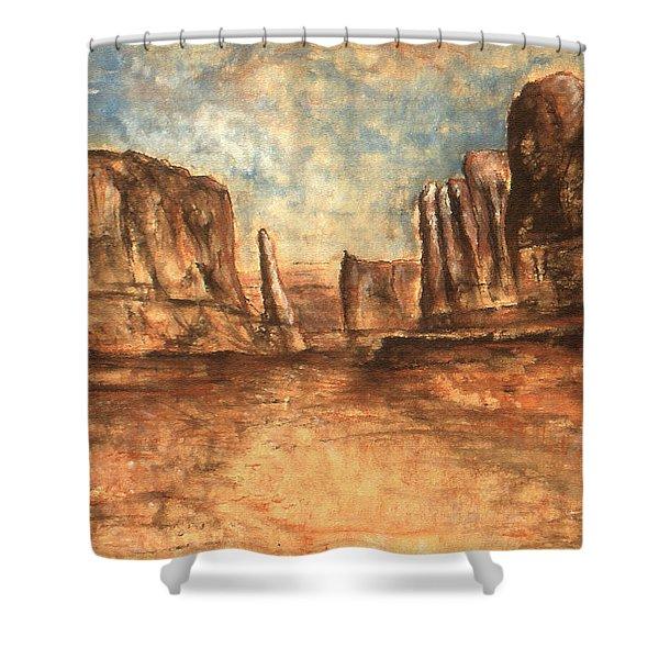 Utah Red Rocks - Landscape Art Painting Shower Curtain