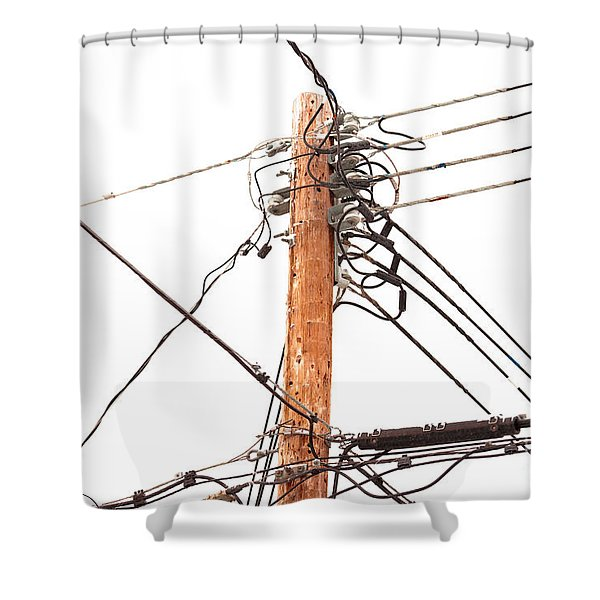 Utility Pole Hung With Electricity Power Cables Shower Curtain