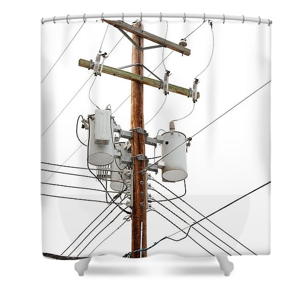 Utility Pole With Power Cables And Transformers Shower Curtain