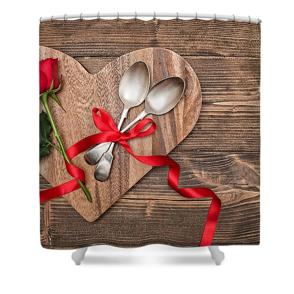 Valentine Table Setting Shower Curtain