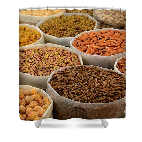 Variety Of Raw Nuts For Sale At Outdoor Street Market Karachi Pakistan Shower Curtain