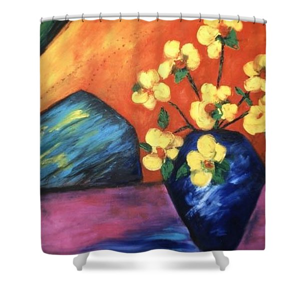 Shower Curtain featuring the painting Vase by Lynn Buettner