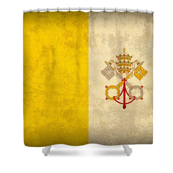 Vatican City Flag Vintage Distressed Finish Shower Curtain