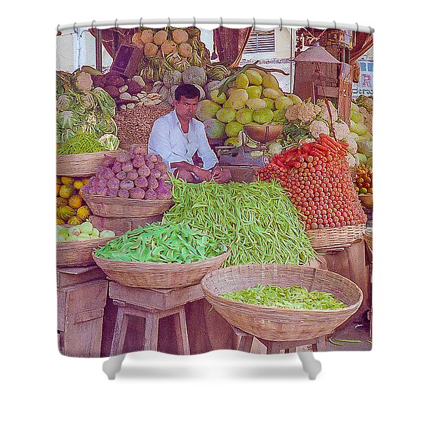 Vegetable Seller In Indian Market Shower Curtain