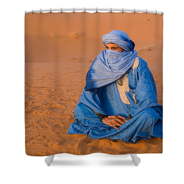 Veiled Tuareg Man Sitting Cross-legged Shower Curtain