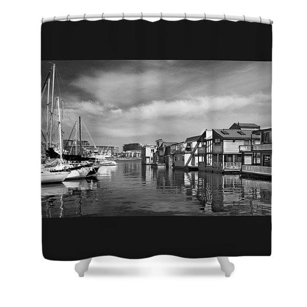 Veiw Of Marina In Victoria British Columbia Black And White Shower Curtain