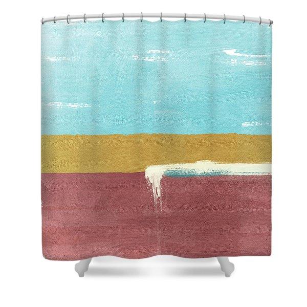 Velvet Horizon- Abstract Landscape Shower Curtain