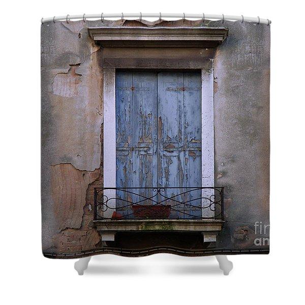 Venice Blue Shutters Horizontal Photo Shower Curtain