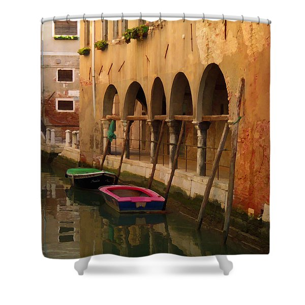 Venice Boats On Canal Shower Curtain
