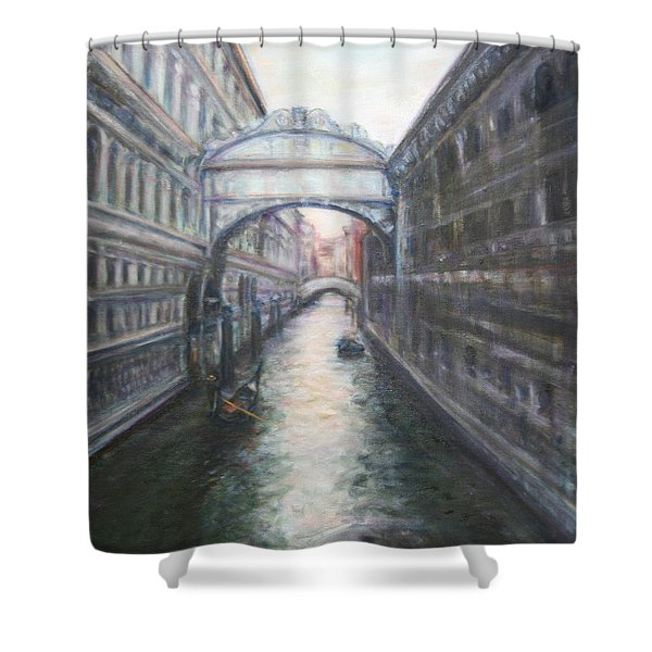 Venice Bridge Of Sighs - Original Oil Painting Shower Curtain