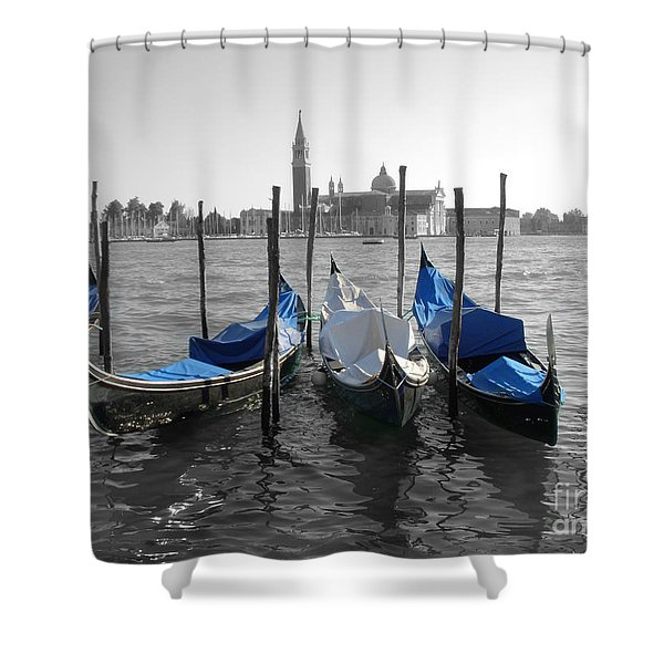 Venice Italy Boats In Black And Blue Shower Curtain