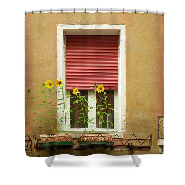Venice Italy Yellow Flowers Red Shutter Shower Curtain
