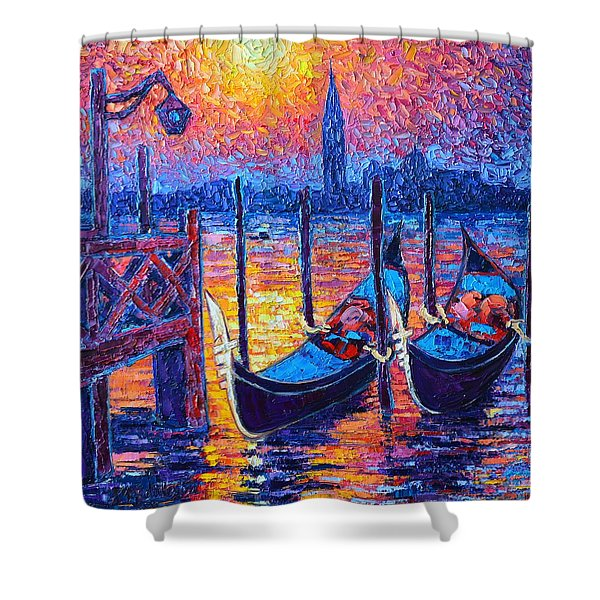 Venice Mysterious Light - Gondolas And San Giorgio Maggiore Seen From Plaza San Marco Shower Curtain