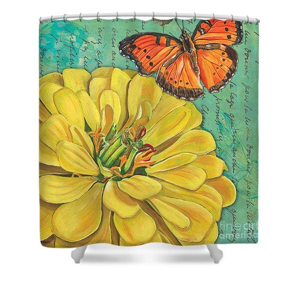 Verdigris Floral 2 Shower Curtain