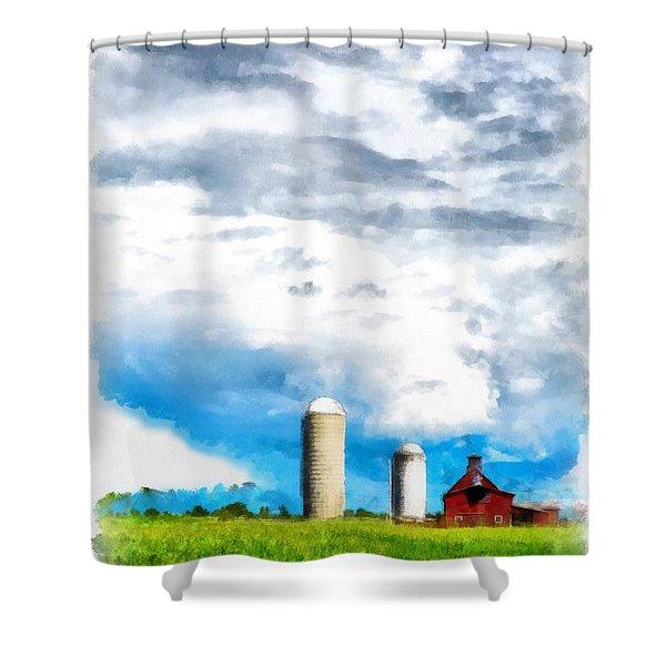 Vermont Farm Scape Shower Curtain