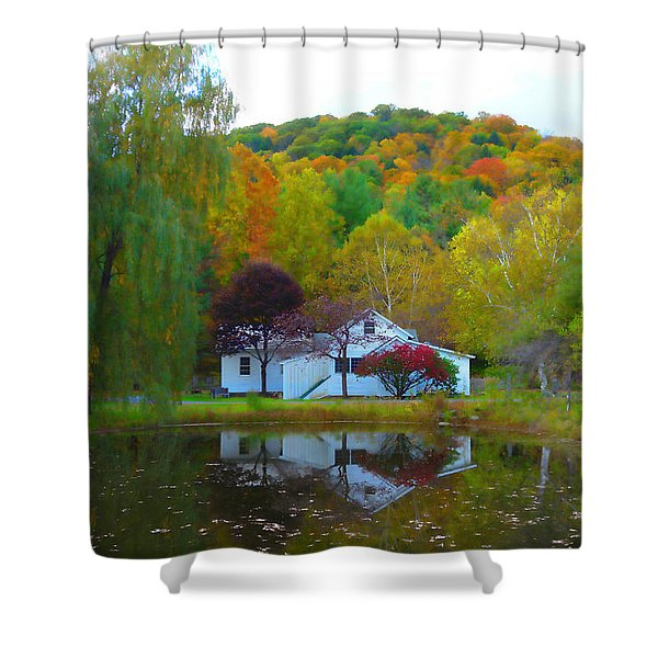 Vermont House In Full Autumn Shower Curtain