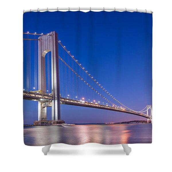 Verrazano Bridge Before Sunrise  Shower Curtain