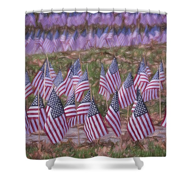 Veterans Day Display Color Shower Curtain