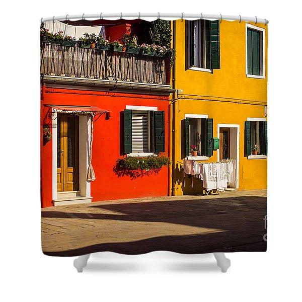 Vibrant Burano Shower Curtain