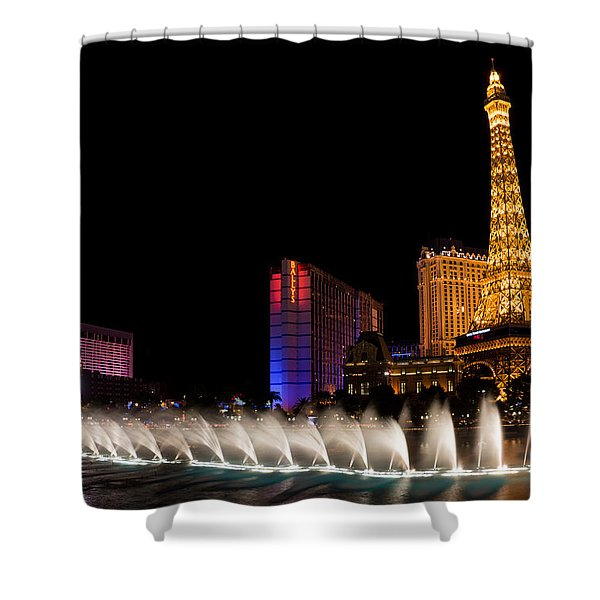 Vibrant Las Vegas - Bellagio's Fountains Paris Bally's And Flamingo Shower Curtain