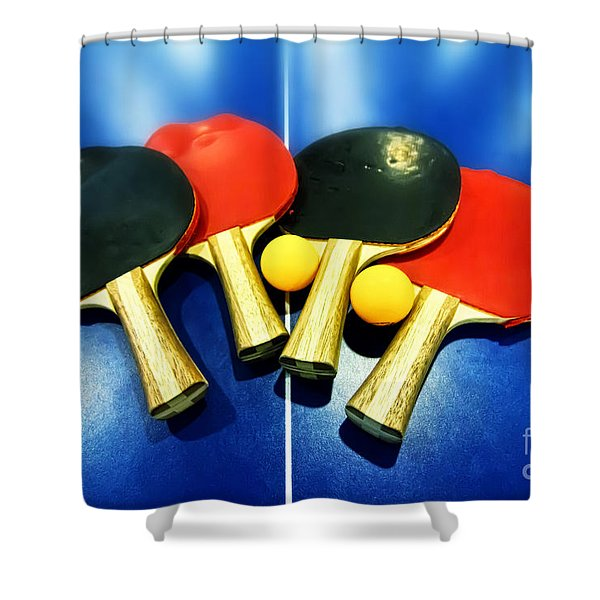 Vibrant Ping-pong Bats Table Tennis Paddles Rackets On Blue Shower Curtain