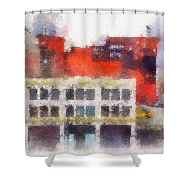 Shower Curtain featuring the digital art View From A New York Window by Mark Taylor