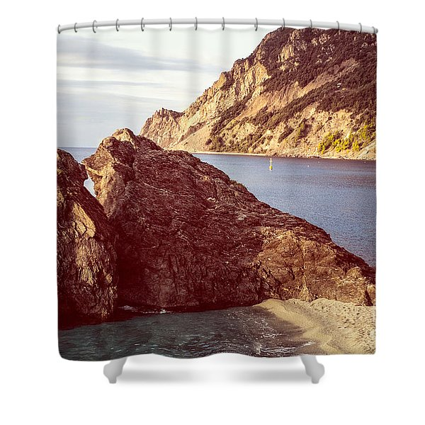 View From Beach Of Monterosso Shower Curtain