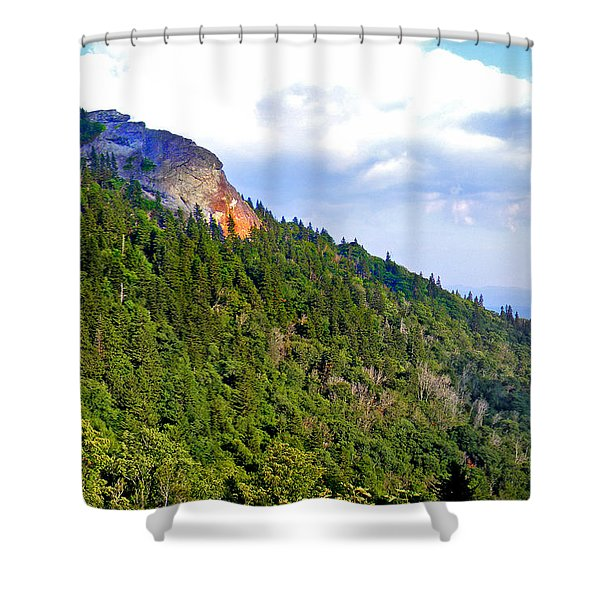 View Of Devil's Courthouse Rock Shower Curtain