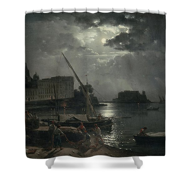 View Of Naples In Moonlight Shower Curtain