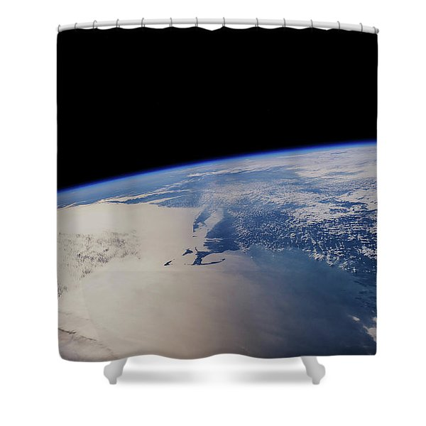View Of Planet Earth From Space Showing Shower Curtain