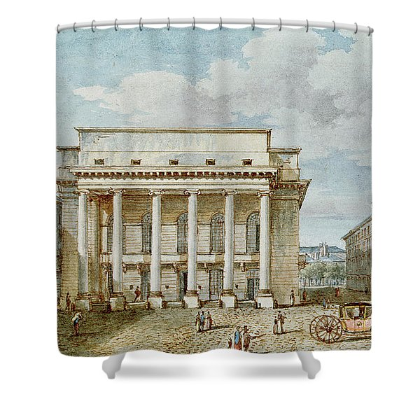 View Of The Facade Of The Theatre Italien Salle Favart  Shower Curtain